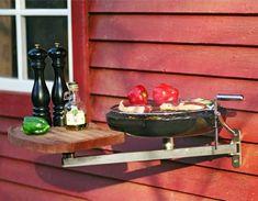 kleiner kompakter Elektrogrill Tisch Balkon Beistelltisch Holz