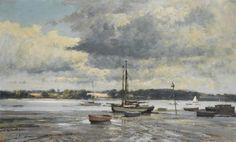 Boats on the Mud, Pin Mill, Suffolk. Edward Seago