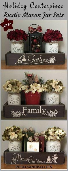 Mason Jar Christmas Centerpiece, Rustic Christmas Centerpieces, Farmhouse Christmas Decor, Winter Decor, Lantern Decor, Painted Mason Jars #ad #masonjar