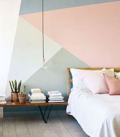 14 modern bedroom paint colour ideas 2019 geometric wall pattern in pink grey blue and white by Fired Earth in a bedroom The post 14 modern bedroom paint colour ideas 2019 appeared first on Bedroom ideas. Bedroom Colors, Home Decor Bedroom, Bedroom Bed, White Bedroom, Paint Ideas For Bedroom, Paint Colours For Bedrooms, Bedroom Girls, Bedroom Paint Design, Bedroom Furniture