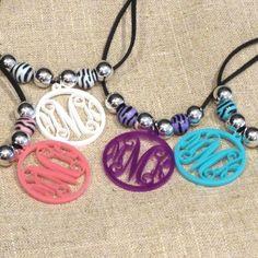 Beaded Acrylic Monogram Necklace