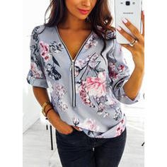Casual Loose Chiffon Blouses Vintage Printed Plus Size Tops Women Clothing Sexy V-neck Zipper Long Sleeve Shirts Camisas Mujer Plus Size Blouses, Plus Size Tops, Sexy Bluse, Long Sleeve Tops, Long Sleeve Shirts, Shirt Bluse, Floral Print Shirt, Loose Shirts, Printed Shirts