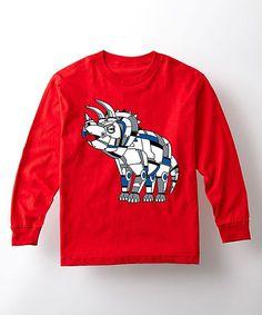 Red Triceratops Robot Long-Sleeve Tee - Toddler & Kids