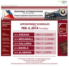 DFA Passport Appointment schedule update: February 4, 2014   #Citizenservices #DFAPassportappointment #Tuesday