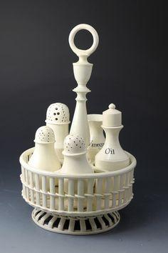 Antique English creamware pottery cruet set. late 18th century period
