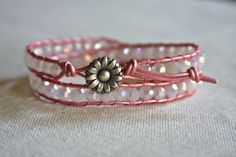 Leather wrap bracelet with a pearl pink greek by HollyMackDesigns, $39.00