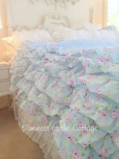 SHABBY BEACH COTTAGE BLUE PETTICOAT RUFFLED QUILT BELLA CHIC PINK ROSES TWIN, QUEEN, KING