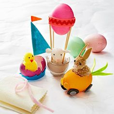 Easter Egg Parade--Crack up your kids with a carrot car, a sailboat, and a hot-egg balloon driven by purchased pom-pom animals