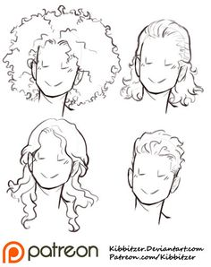 Curly Hair Reference Sheet 2 by Kibbitzer You are in the right place about curly hair styles tutoria Drawing Techniques, Drawing Tutorials, Art Tutorials, Art Reference Poses, Drawing Reference, Face Reference, Kissing Reference, Character Reference Sheet, Drawing Sketches