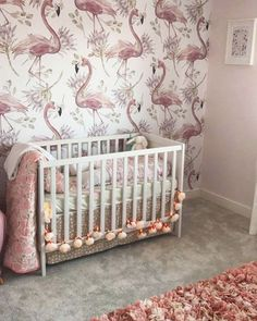 Nursery flamingo wallpaper for a little babygirl straight from UK! Thanks Kelly for that pic! #wallpaper #flamingowallpaper #wallmural #fototapeta #fototapete #fotomurales #papelpintado #papierpeint #flaming #flamingodecor #removablewallpaper
