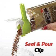 Seal & Pour Food Clip Food Storage, Bag Storage, Kitchen Storage, Kitchen Tips, Kitchen Ideas, Egg Molds, Food Clips, Food Out, Jars