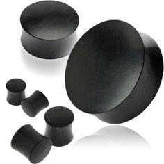 "Pair Black Areng Double Flare Saddle Organic Wood Ear Plugs Flesh Tunnel 8G-2/"""