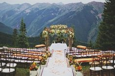 Coral and Green Outdoor Wedding Ceremony at the top of Aspen Mountain in Colorado Colorado wedding venues Colorado weddings Outdoor Wedding Venues, Wedding Decor, Wedding Ceremony, Wedding Ideas, Colorado Wedding Venues, Wedding Rings, Ceremony Backdrop, Wedding Themes, Trendy Wedding