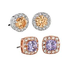 Simple elegance! Clear stone halos surround a beautiful colored stone to make up the perfect studs.Introducing the Love at First Sight Collection: Capture the sparkle of a whirlwind romance with our champagne-, lavender- and rose-tone pieces. Shop the coordinating Love at First Sight Ring!FEATURES•Post with butterfly clutch•Earrings measure 9.7mm•Center stone measures 6mm x 6mm•CZs measure 1.5mm•Pierced•Weighs3 gramsMATERIAL