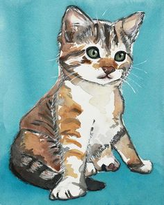 Kitten Watercolor PRINT  Cat Watercolor Animal by WaterInMyPaint, $15.00