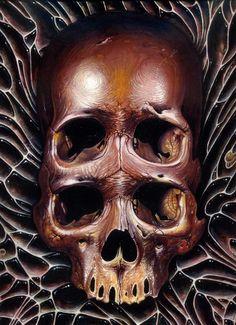 4 eyed bubble skull Art Print by Voss Fineart