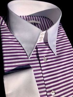 Can be made in 4 or 5 button collar with french(default) or 2 button cuffs. Best Dress Shirts, Shirt Dress, High Collar Shirts, Bespoke Shirts, Contrast Collar, Older Men, Mens Suits, Fashion Statements, Mens Fashion