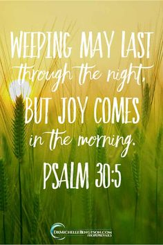 "In those dark days and nights, hold on to God's promise which says, ""Weeping may last for the night, but joy comes in the morning"" (Ps Prayer For Depression, Bible Verses For Depression, Quotes For Depression, Scripture Verses, Bible Verses Quotes, Bible Scriptures, Psalm 30, Bible Verses"