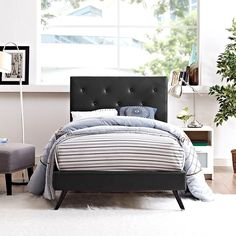 Terisa Twin Vinyl Platform Bed with Round Splayed Legs in Black