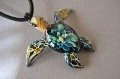 Turquoise Tide Pool Sea Turtle pendant Great Gift door Glassnfire, $36.00