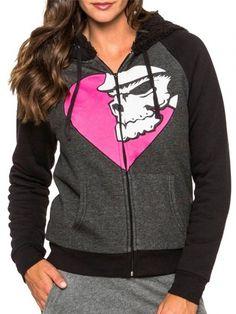 """Women's """"Dakota"""" Zip Fleece by Metal Mulisha (Charcoal) #inkedshop #dakota #heart #zipup #sweater #cozy"""
