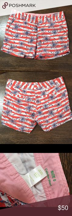 Lilly Pulitzer Callahan she's a firecracker shorts LP EUC 4th of July Callahan shorts with glow in the dark fireworks. Size 0, these run a little big, could fit 2 also. Worn twice. Lilly Pulitzer Shorts
