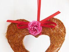 Cœur couleur chocolat en fibres naturelles à par FolleDeJoie