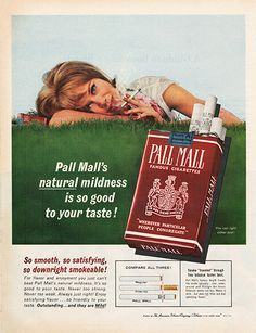Large Antique 1963 Pall Mall Cigarette Magazine Print Ad - Approx 11 x 14 - Suitable for framing.