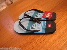 Men's Quiksilver flip flops thongs sandals 13 molokai art series blue NWT NEW