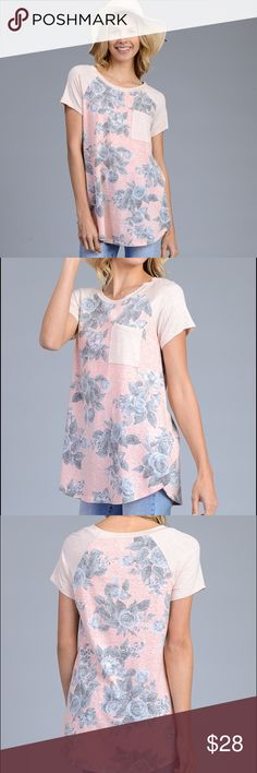 🆕Faded Floral Tee A stylish,  comfortable, non flashy update to your closet! Pretty peach, pink and gray floral Tee with pocket. Peach TSHIRT with pink washed out background decorated with pale gray flowers.  50% polyester, 38% cotton, 12% Rayon. Angelique's Atelier Tops Tees - Short Sleeve
