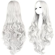 Rbenxia Curly Cosplay Wig Long Hair Heat Resistant Spiral Costume Wigs... ($17) ❤ liked on Polyvore featuring costumes, silver costume, cosplay halloween costumes, white wig costume, silver halloween costume and white costume