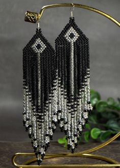 Black and silver long beaded earrings, designer earrings, hand made beaded work, tassel earrings, native earrings Beaded Earrings Native, Beaded Earrings Patterns, Indian Earrings, Seed Bead Earrings, Beaded Choker, Fringe Earrings, Jewelry Patterns, Diy Earrings, Earrings Handmade