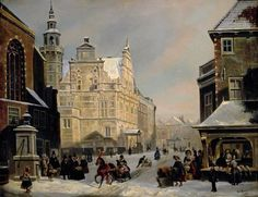 Carel Jacobus Behr 1812-1895 The Hague 1853 on the left the old cityhall and left front St.Jacobschurch. On the right fishmarket called De Visbanken. View on the Dagelijkse Groenmarkt.