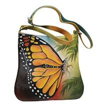 Shop for Handpainted Butterfly Shoulder Bag - Leather Crossbody Strap Lined Purse - Multi - One Size. Get free delivery On EVERYTHING* Overstock - Your Online Handbags Outlet Store! Crossbody Shoulder Bag, Leather Crossbody, Leather Shoulder Bag, Leather Bag, Shoulder Bags, Cheap Purses, Cute Purses, Purses For Sale, Gucci Handbags