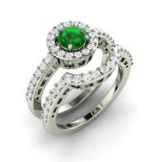 Emerald and Diamond  Ring in 14k White Gold (1.19 ct.tw.) - Adoncia