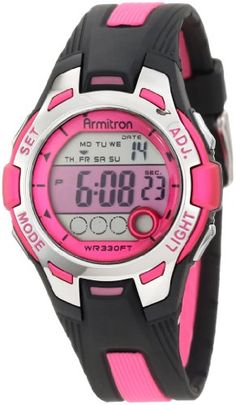 Sporty appeal is offered in this digital watch by #Armitron featuring apink highlighted band and water resistance up to 330 ft.