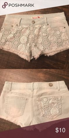 Blue jean shorts with lace on front Blue jean shorts with lace- light jean with white lace Shorts Jean Shorts