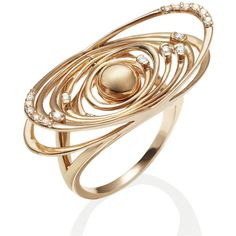 Women's Diamond Rings by Anakao DEVOTED Rose Gold Ring (£1,980) ❤ liked on Polyvore featuring jewelry, rings, rose, galaxy ring, cocktail ring, diamond jewelry, red gold ring e diamond cocktail ring