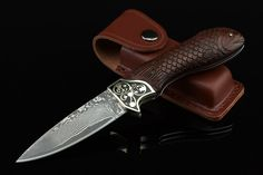 Fish Shape Rosewood And Brass Handle Damascus Steel Collectible Folding Knife 2645