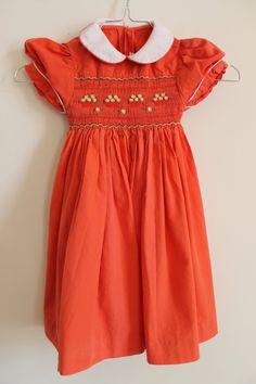 Vintage smock red dress 1218 mo. Found in Paris 100 by Sartorielle