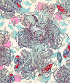 Highlighting the disproportionate number of blue hued artworks Taiwanese American artist, James Jean has created. James Jeans, Rooster Illustration, Digital Illustration, Monkey Art, Psy Art, Pop Surrealism, Anton, American Artists, Asian Art