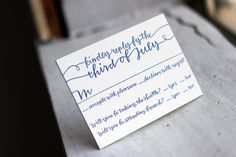 Reply Card with String Calligraphy (via @bellafigura) #replycard #wedding