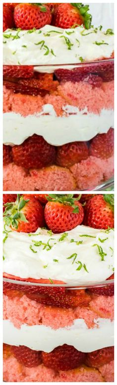 Strawberry Key Lime Cheesecake Trifle ~ Layers of cake cubes, no bake cheesecake, and fresh fruit makes this Strawberry Key Lime Cheesecake Trifle an easy dessert to make for spring or summer dinners.