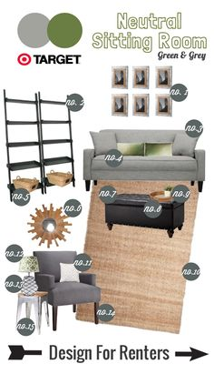 Design for Renters: Mood Board>>Neutral Sitting Room