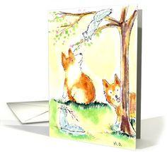 corgi dog n squirrel | General Friendship | Greeting Card Universe by Hollyn Overton
