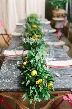 lemon greenery table runner @weddingchicks