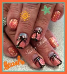 Summer peachy coral shellac nails palm trees