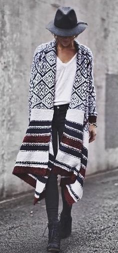 would love a long patterned boho cardigan. this one is not quite right, but close