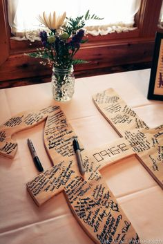 guest book, wedding, letter, camp themed wedding can say camp Geiss Camping Wedding Theme, Campground Wedding, Camp Wedding, Camping Theme, Wedding Guest Book, Dream Wedding, Party Centerpieces, Wedding Decorations, Wedding Letters