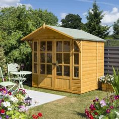 Rowlinson Eaton Wooden Summer House in Honey Brown - Wooden Summer House, Livable Sheds, Shiplap Cladding, Apex Roof, Sheds For Sale, Wood Storage Sheds, Backyard Retreat, Backyard Ideas, Honey Brown